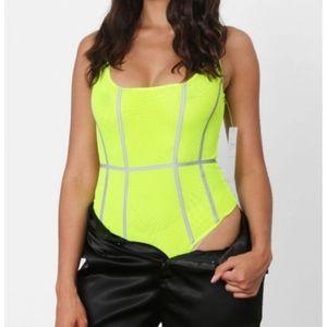 Reflective Neon Green Sleeveless Bodysuit